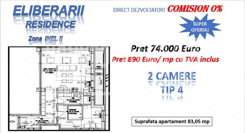 OFERTA DIRECT DEZVOLTATOR! INEL II - 2 camere TIP 4 in Eliberarii Residence