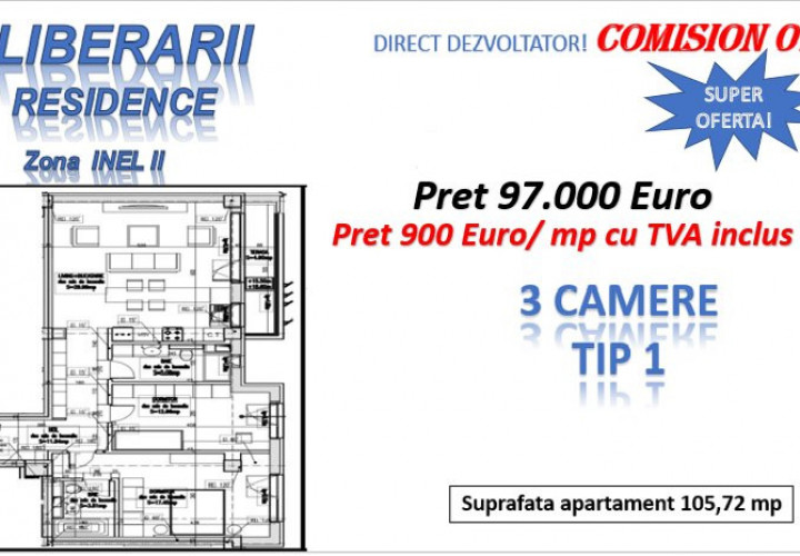 DIRECT DEZVOLTATOR ! INEL II - 3 camere TIP 1 in Eliberarii Residence